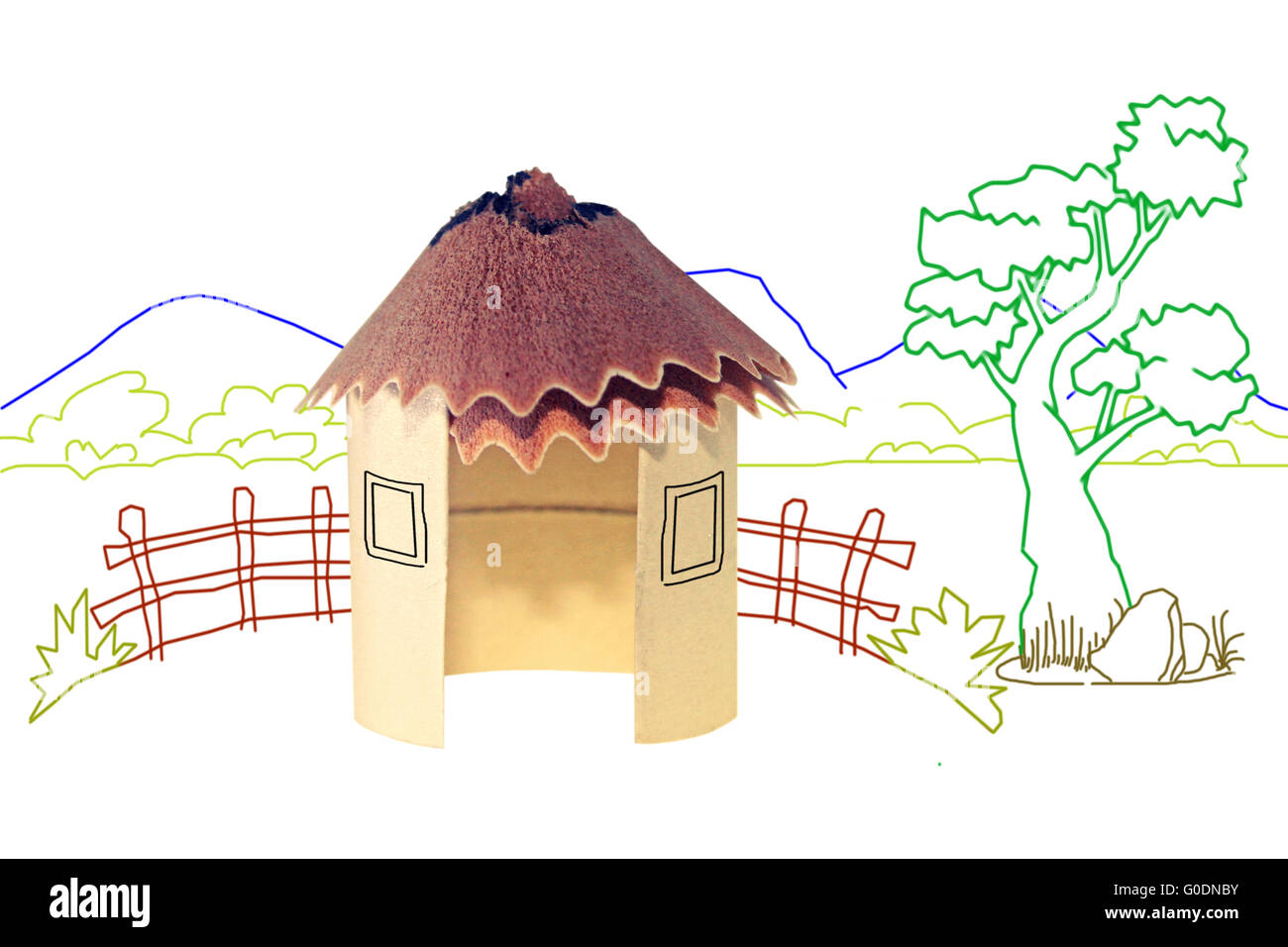 Paper Hut, Pencil Shavings Roof with Line drawing ...