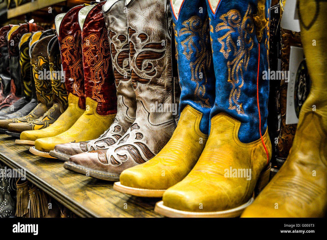 the nashville cowboy boot store has rows of unique cowboy