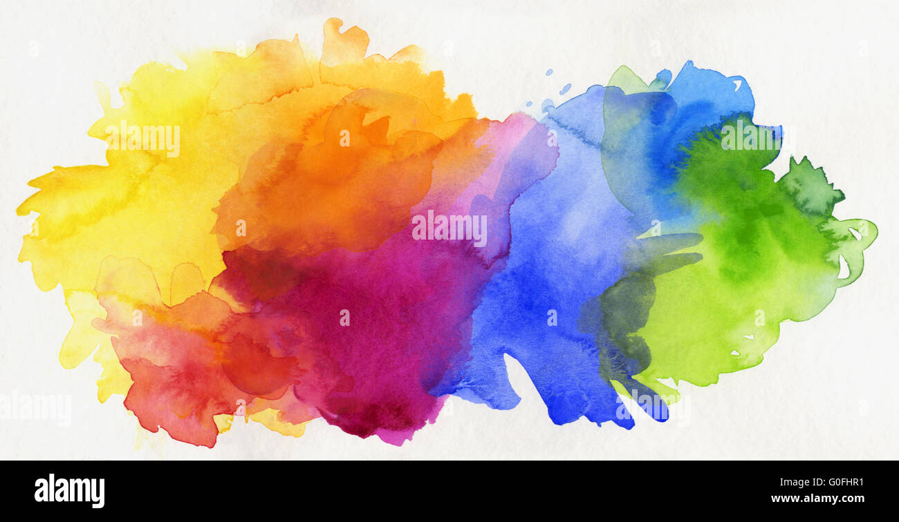 Free Photo Watercolors Rainbow Colors Lilac: Hand Painted Rainbow Watercolor On Paper Stock Photo