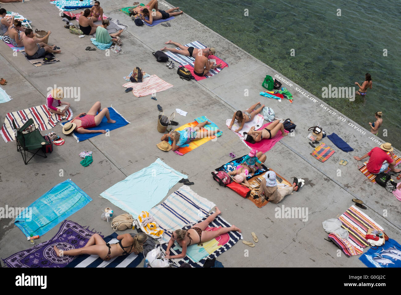 Aerial View Of Sunbathers At Wylie Baths In Sydney New South Wales Australia