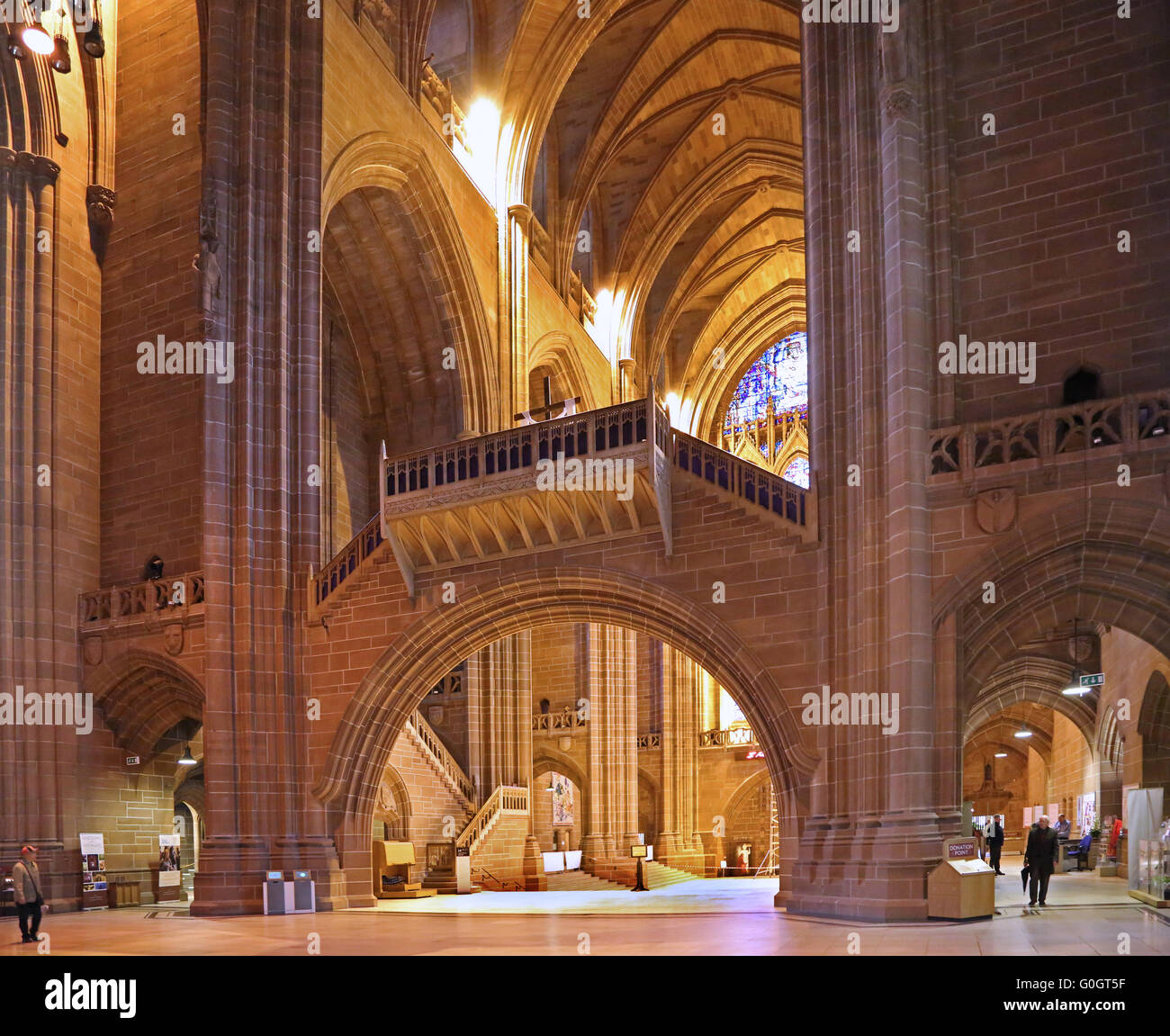 The Interior Of Liverpool Anglican Cathedral Showing Nave Bridge Built In Gothic Revival Style Completed 1978