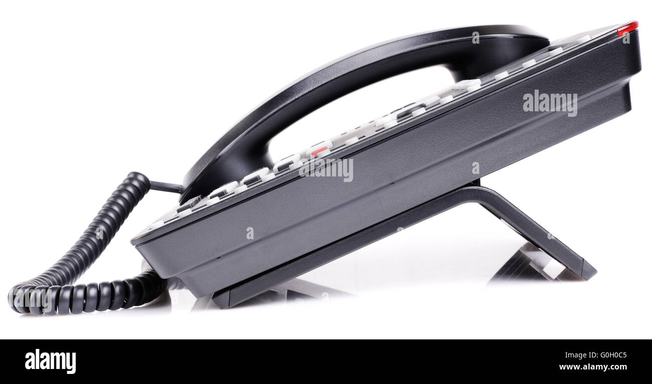 side view office set. office ip telephone set side view over white background alamy