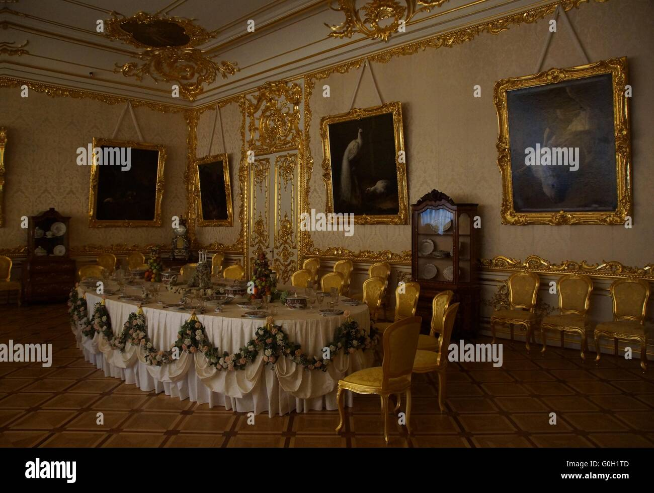 white formal dining room in the catherine palace stock photo