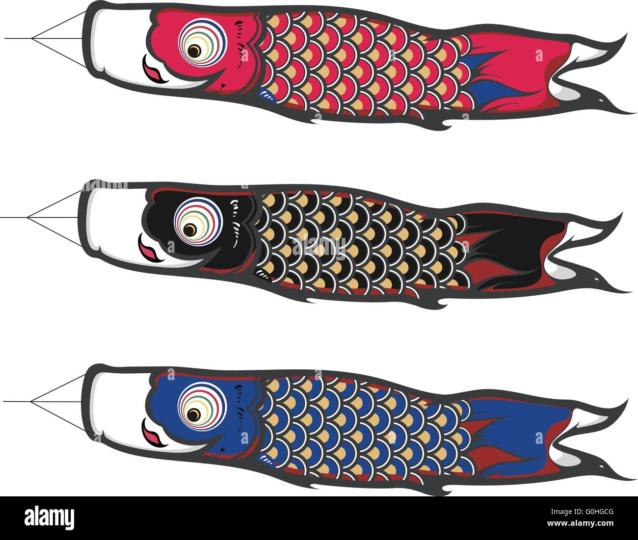 Koinobori which is a kind of japanese fish kites stock for Japanese fish flag