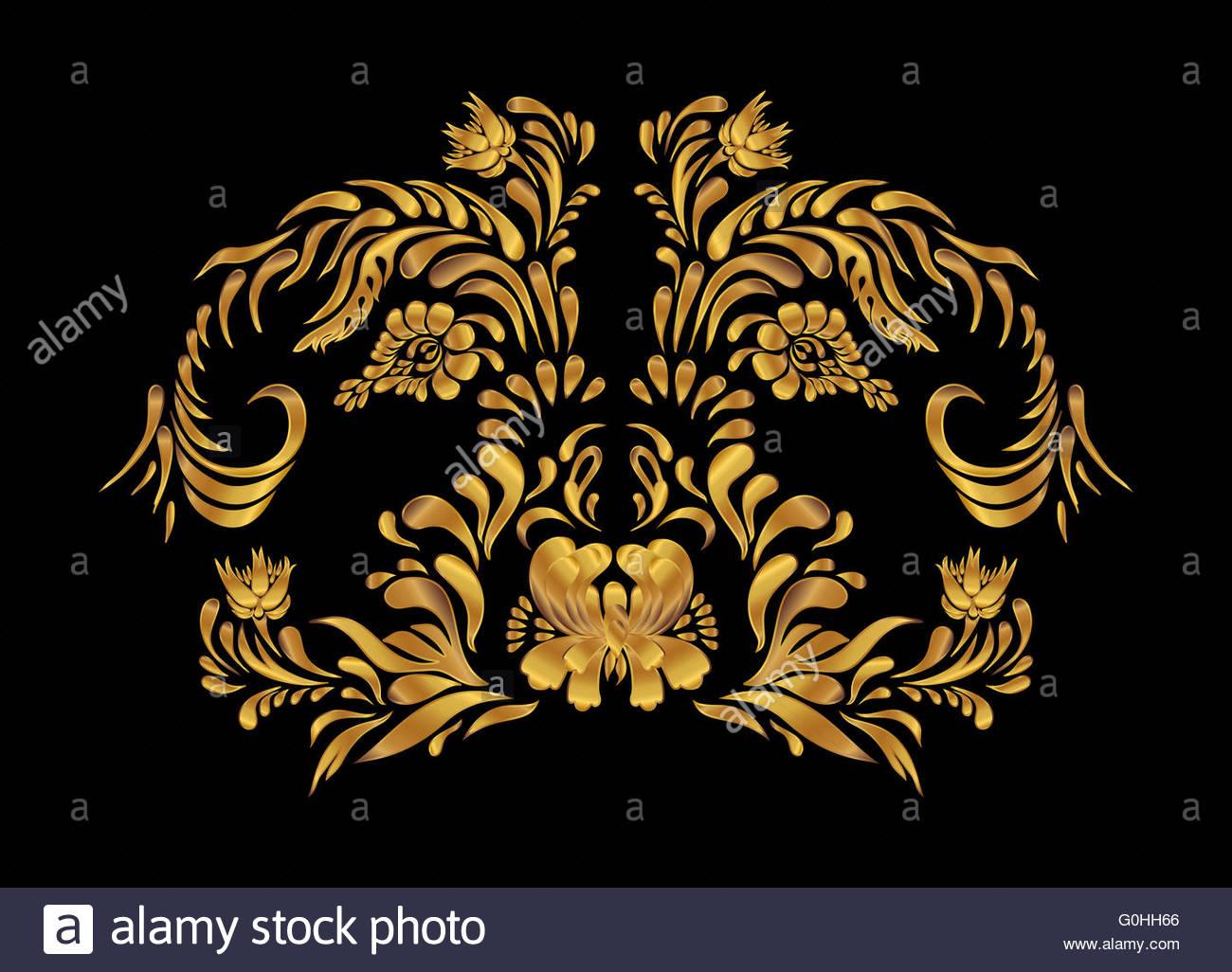 Golden Floral Design On Black Background Gold Flowers