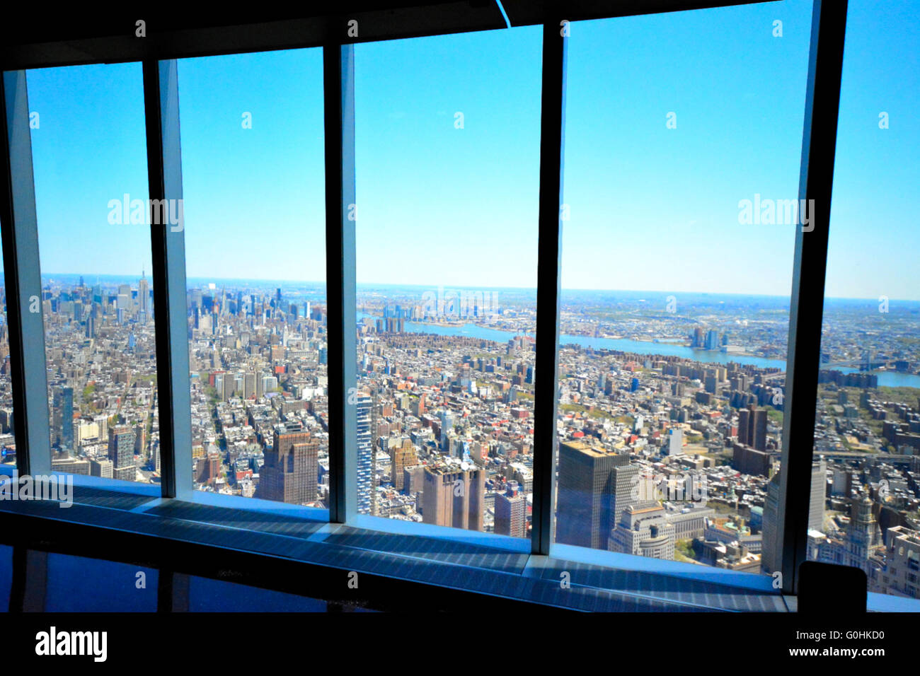 The view from the observation deck of the Freedom Tower ...
