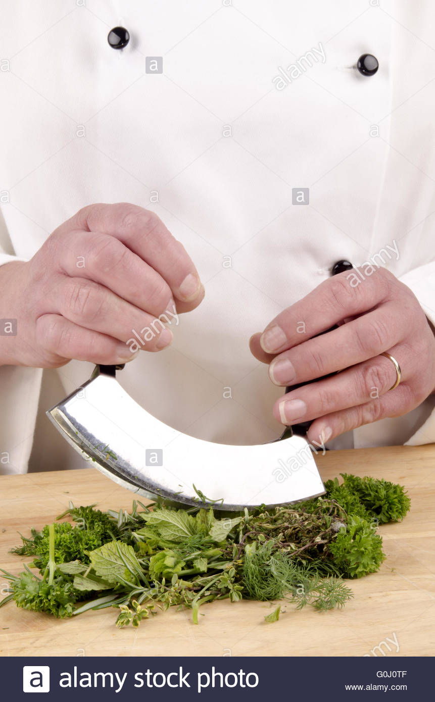 Chefs buying fresh herbs - Stock Photo Female Chef Cuts Fresh Herbs With A Herb Chopper