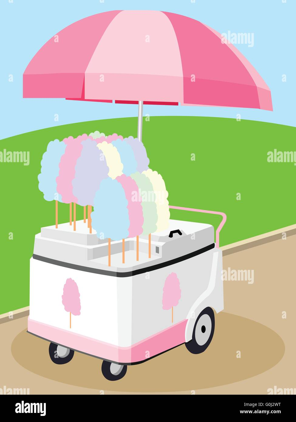 mobile food umbrella cart vector cartoon sell cotton candy stock