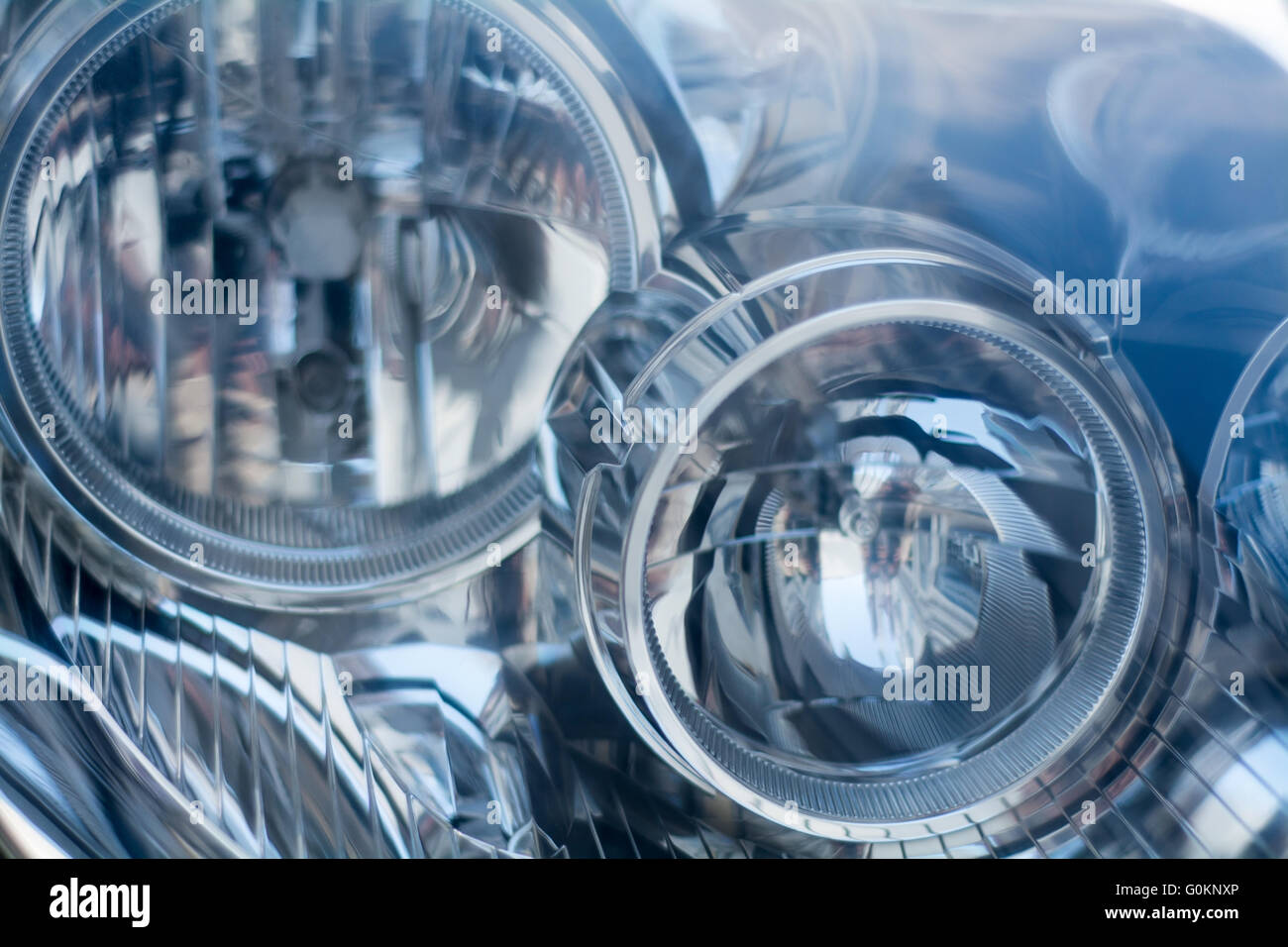 Silver Blue Technology Abstract Background From A Blurred Close Up Of Car Headlight