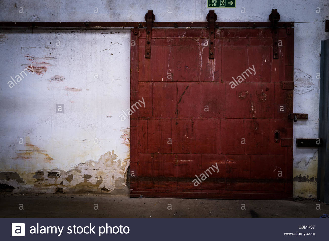 ... Heavy Metal Sliding Door In An Old, Disused Factory   Stock Photo