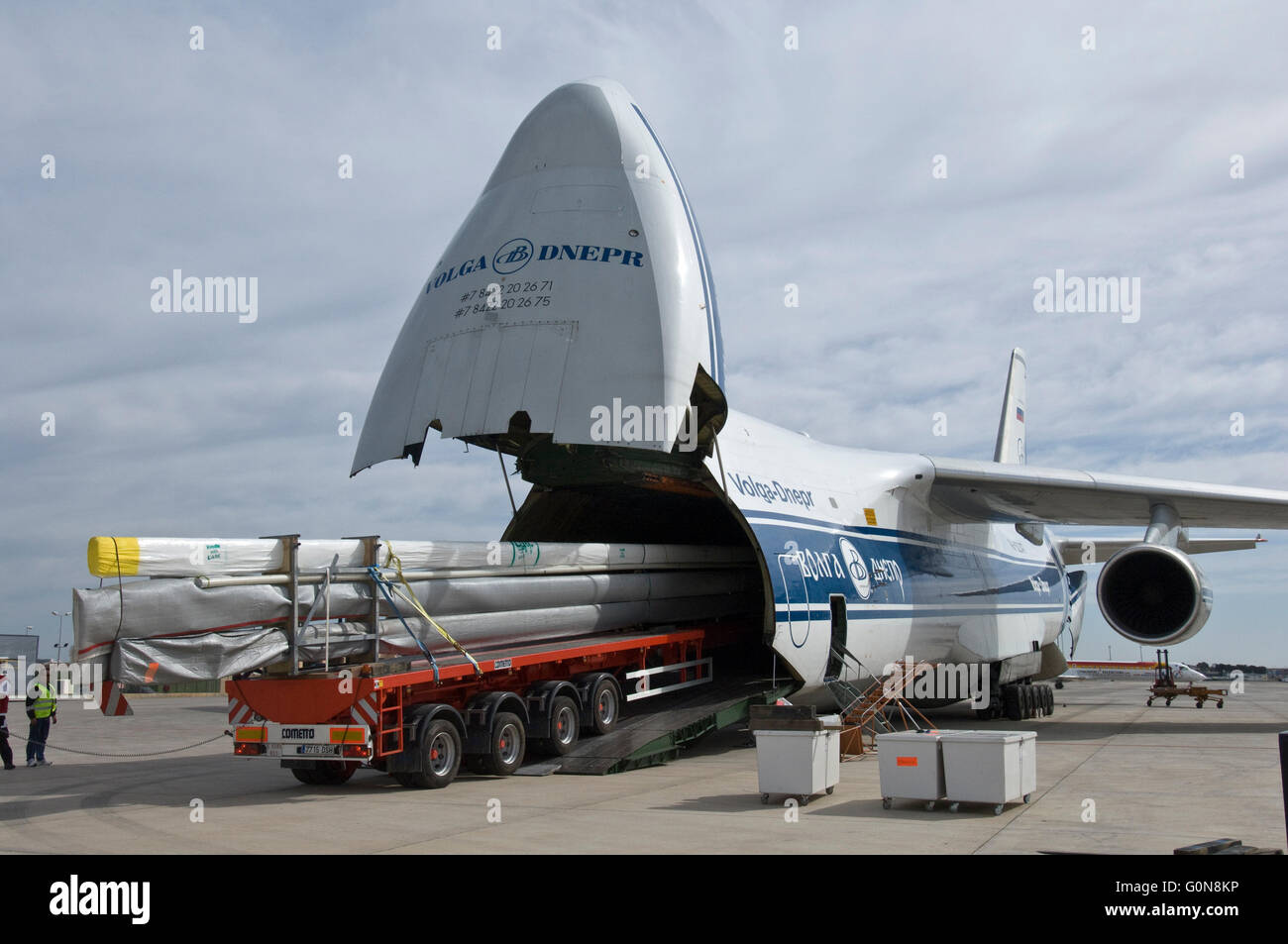 Stock Photo - Volga-Dnepr Airlines Antonov An-124-100 Commercial transport aircraft. Forward and rear cargo doors open for drive through acce : aircraft doors - Pezcame.Com