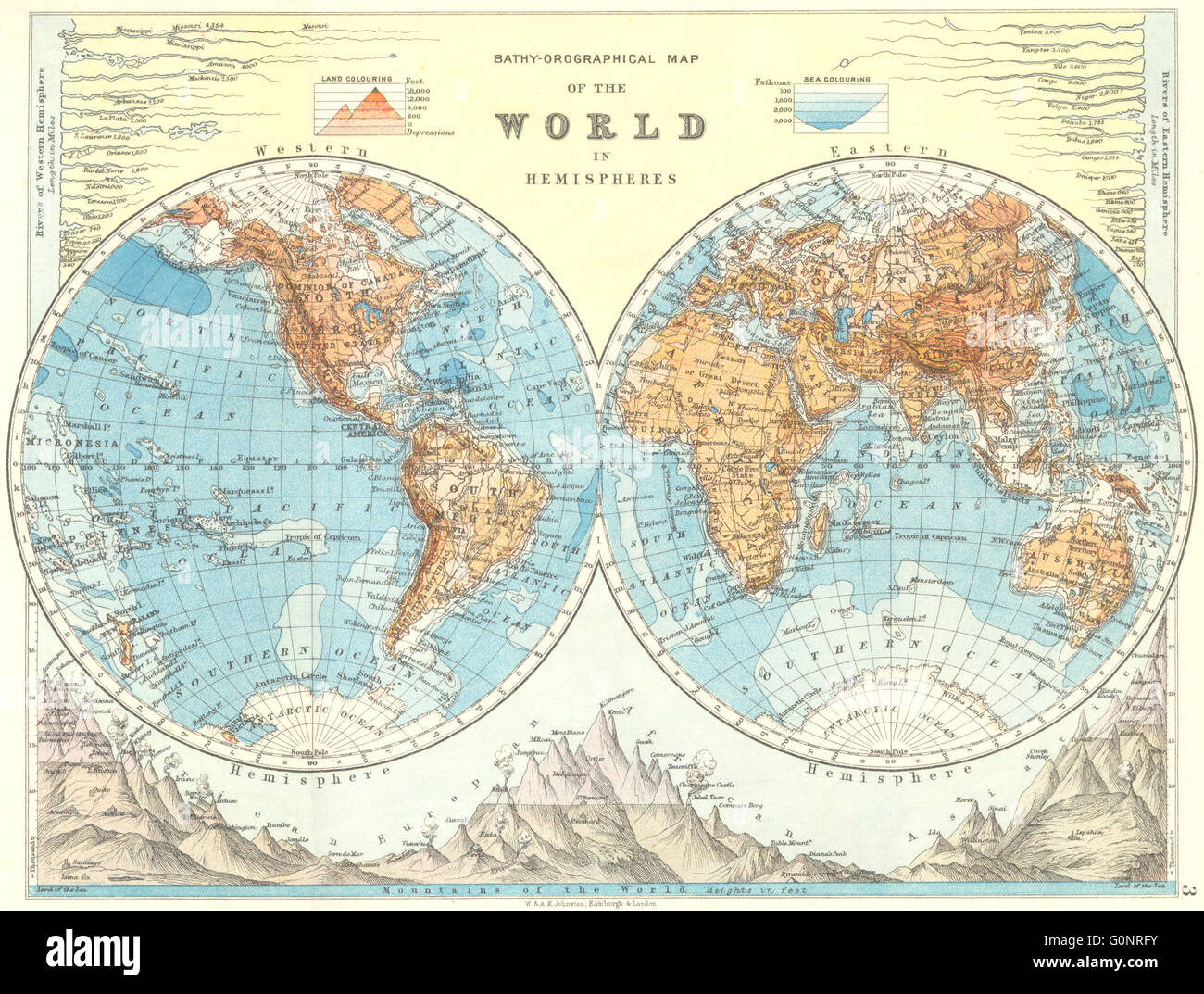WORLD TWIN HEMISPHERES Relief Mountains Rivers JOHNSTON - Rivers and mountains of the world
