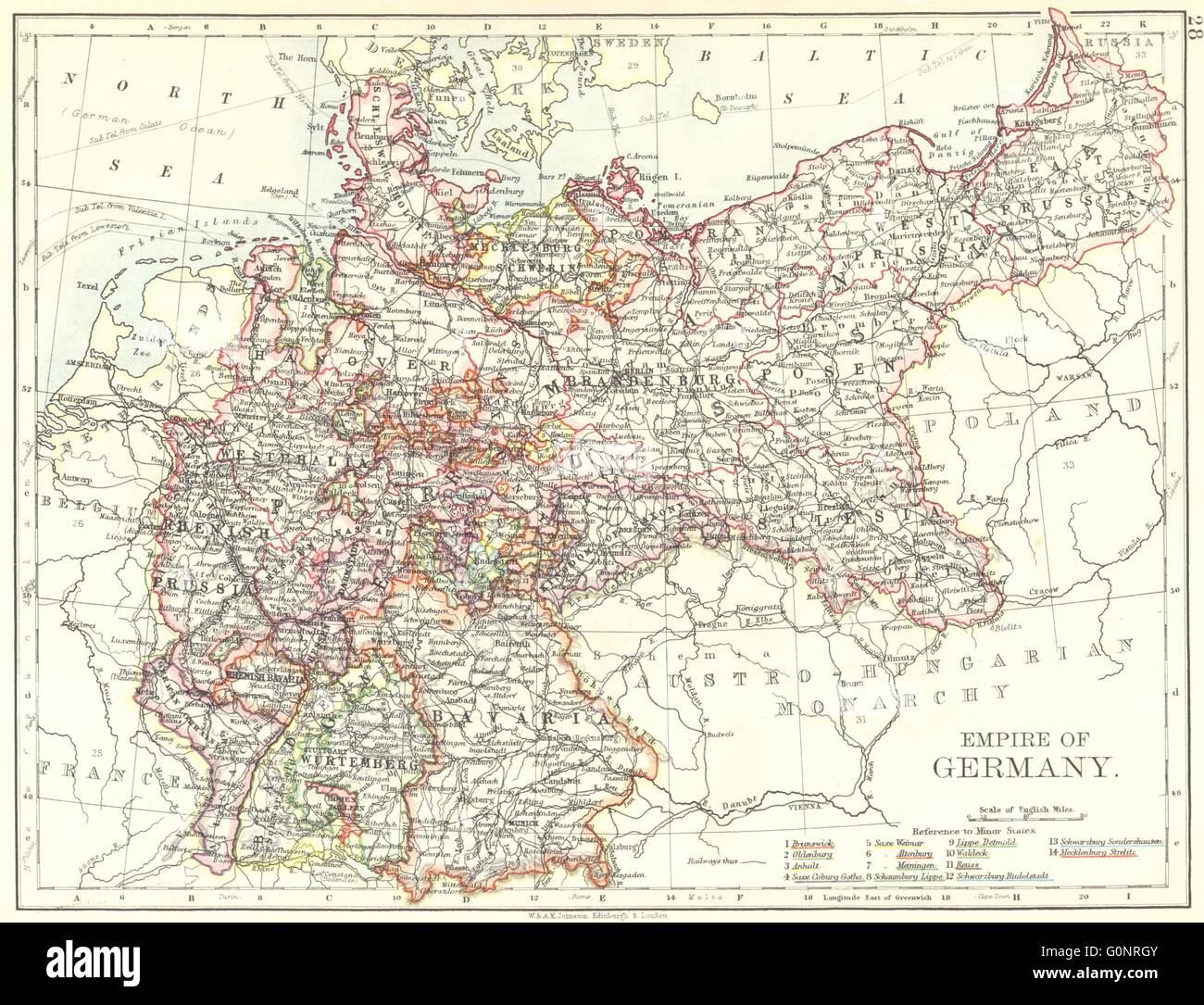 EMPIRE OF GERMANY States Prussia Bavaria Alsace Lorraine - Germany map 1900