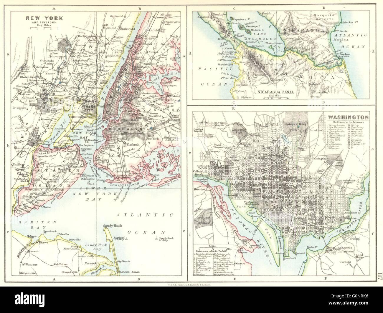 Us Cities Map Us Cities Nicaragua C New York U0026 Washington Plans Johnston
