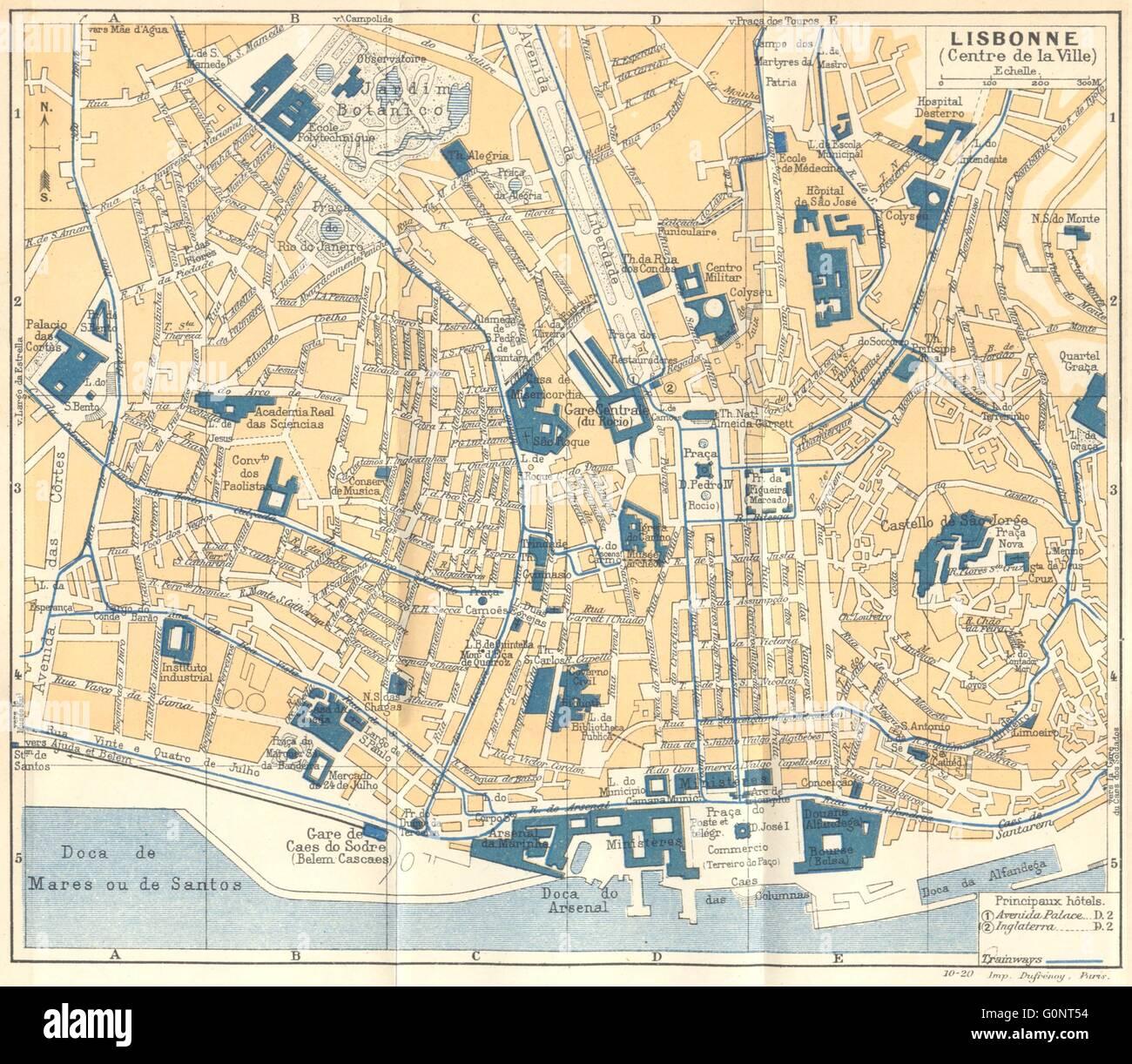 PORTUGAL Lisboa Lisbon Centre De Ville Vintage Map Stock - Lisbon portugal map
