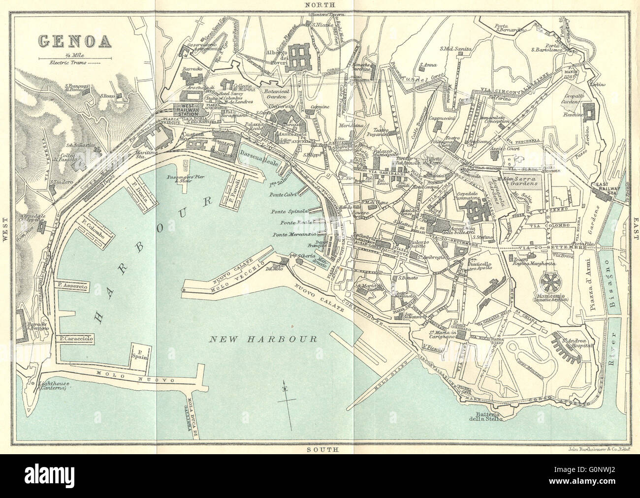 ITALY Genoa 1913 antique map Stock Photo Royalty Free Image