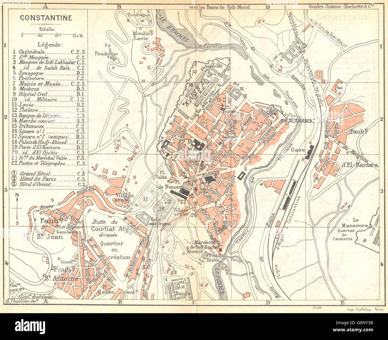 ALGERIA Constantine 1909 antique map Stock Photo Royalty Free