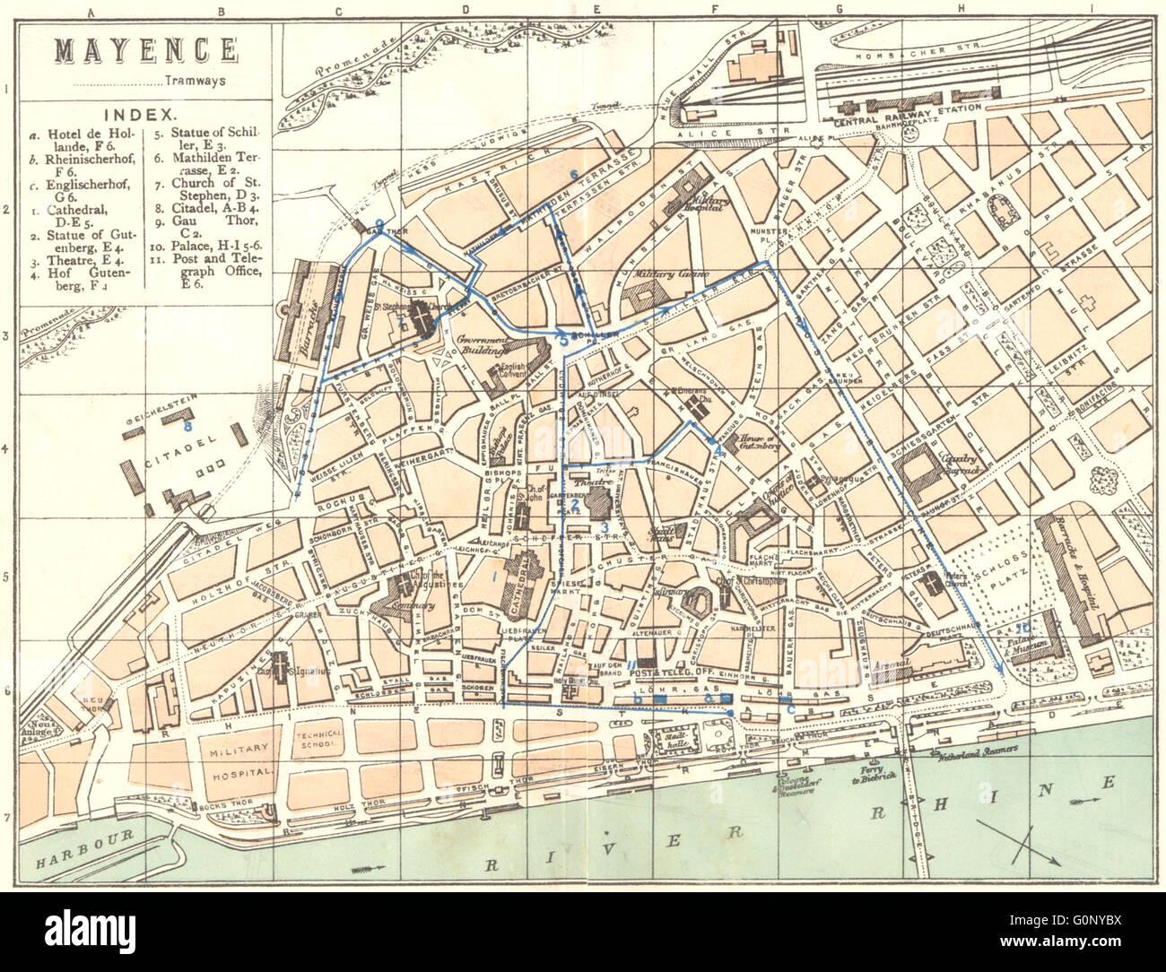 GERMANY Mainz Mayence Antique Map Stock Photo Royalty Free - Germany map mainz