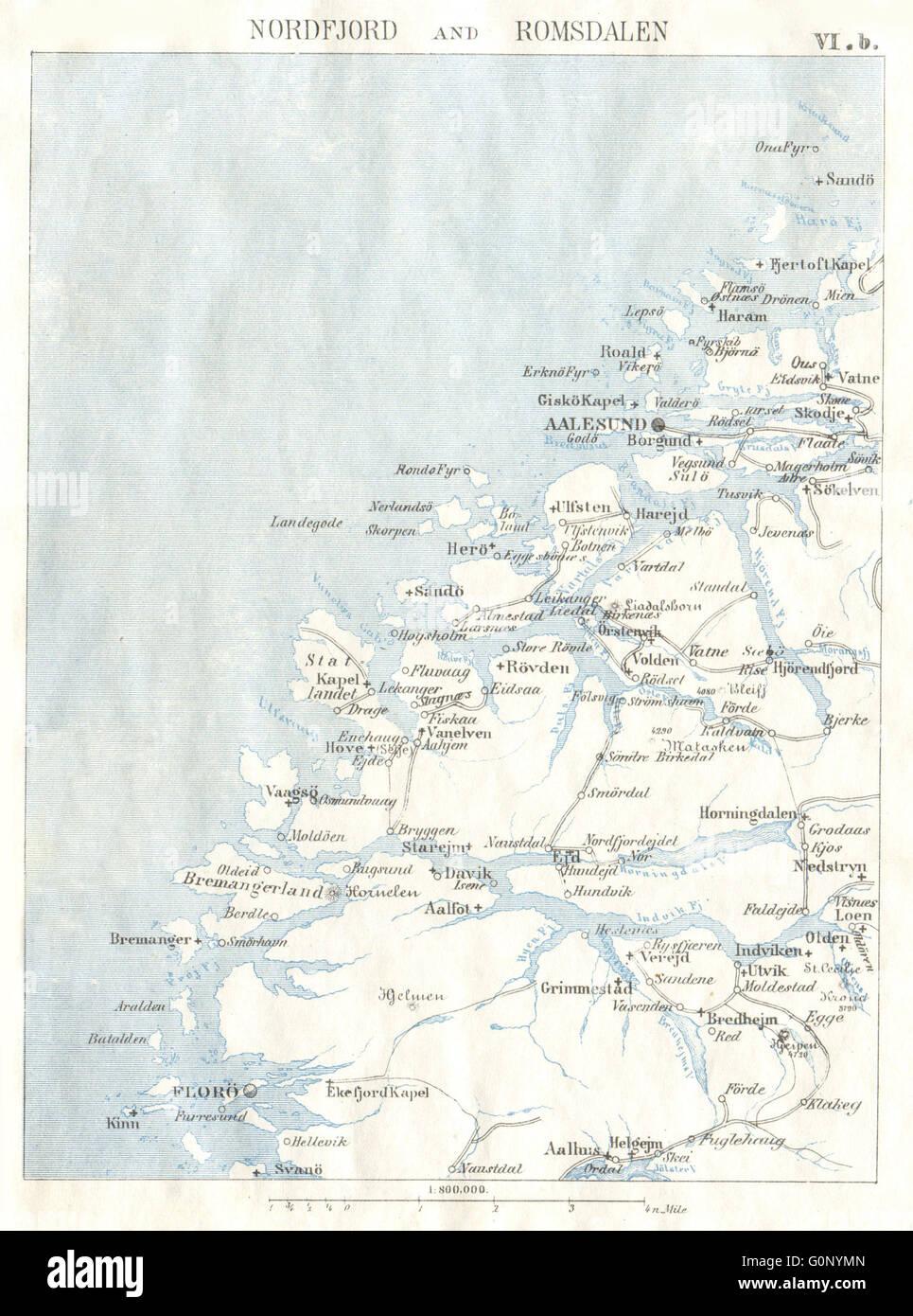 NORWAY Nordfjord Romsdalen Alesund Floro 1896 antique map