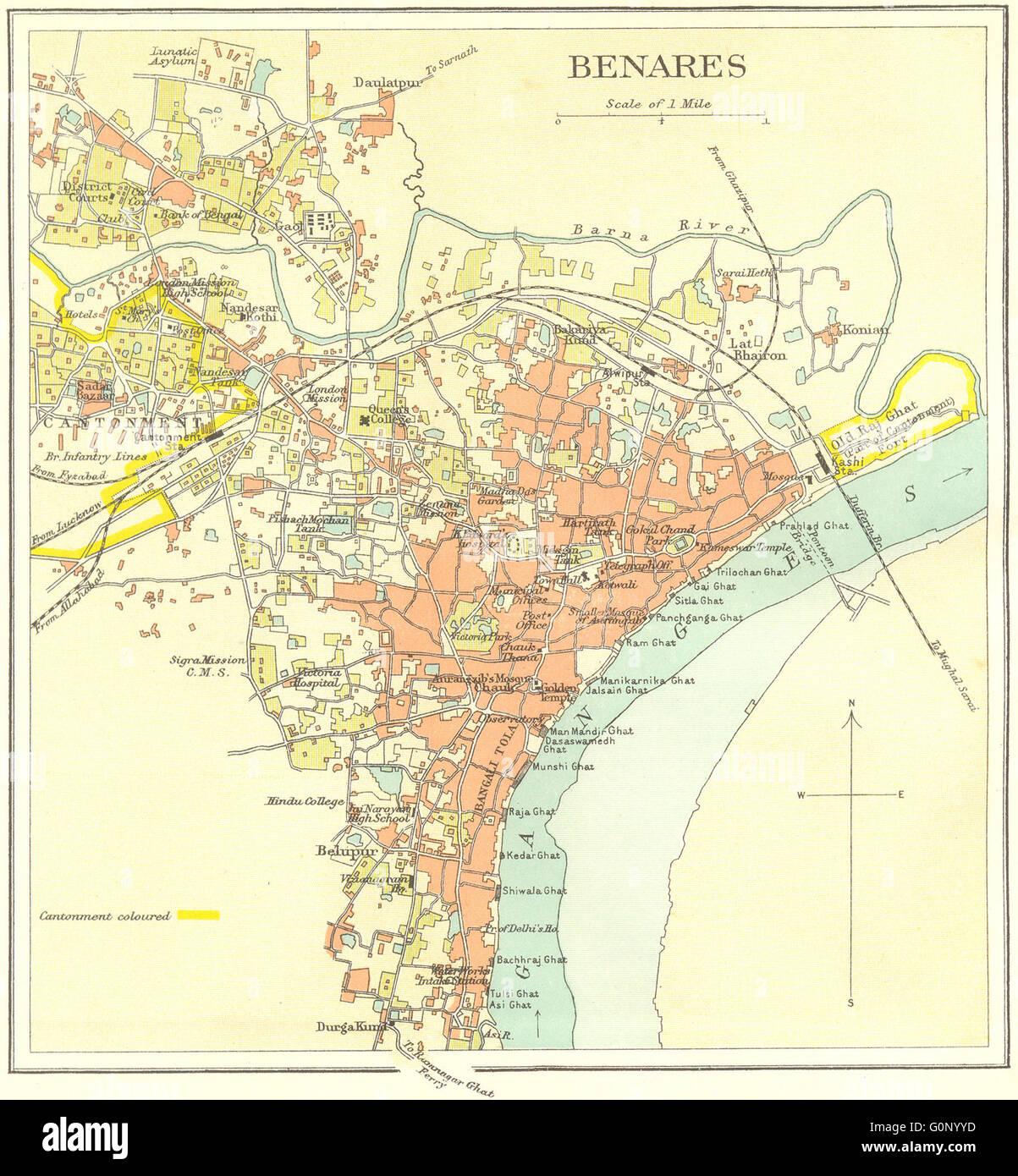 BRITISH INDIA Benares Varanasi City PlanGanges Temples Stock - Varanasi map