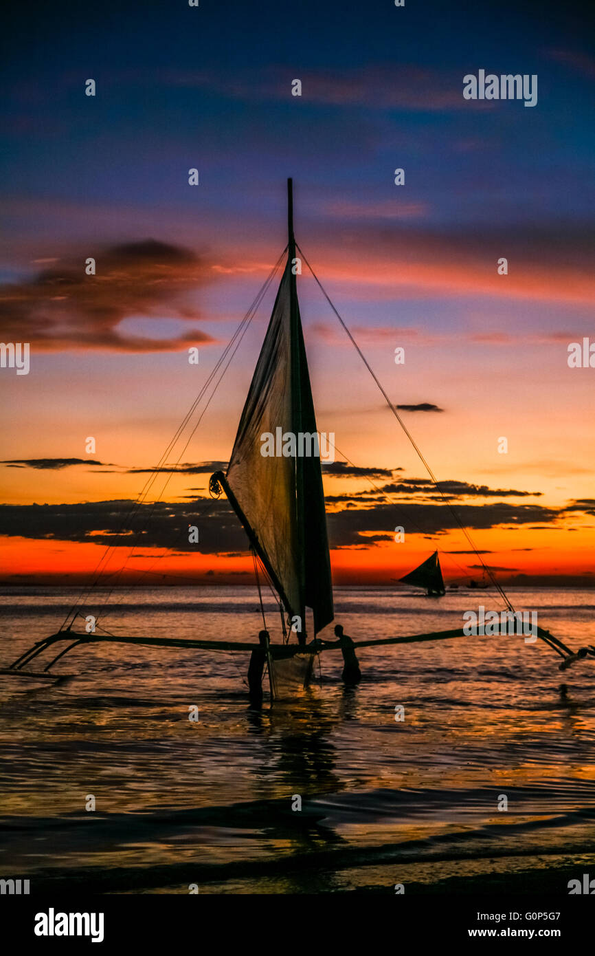 Philippines Boracay White Beach One Of The Best Beaches In World Sailing Boats At Sunset Adrian Baker