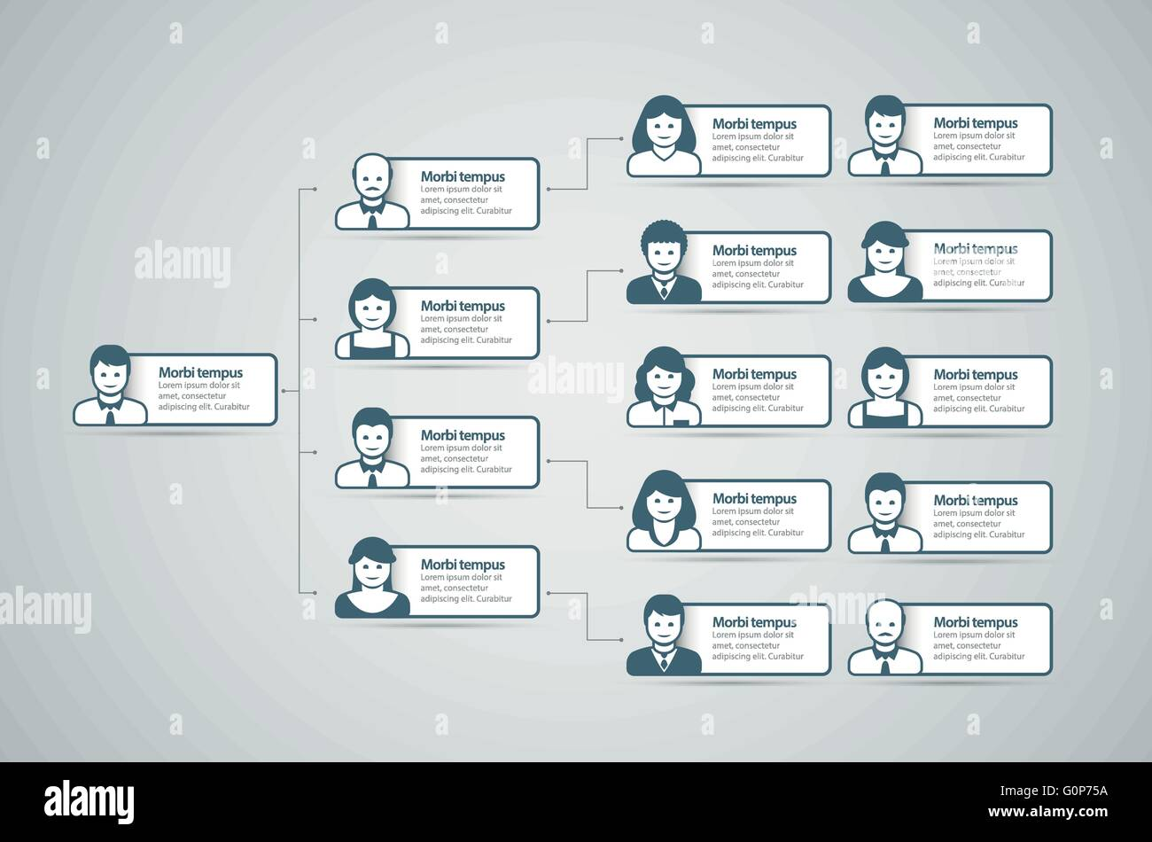 Corporate organization chart with business people icons Vector – Business Organizational Chart