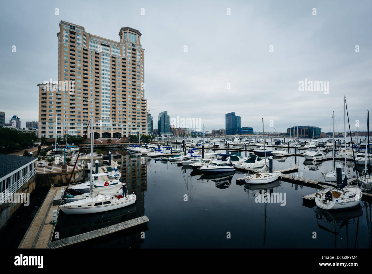 Highrise Apartment Building And Marina At The Inner Harbor, In Baltimore,  Maryland