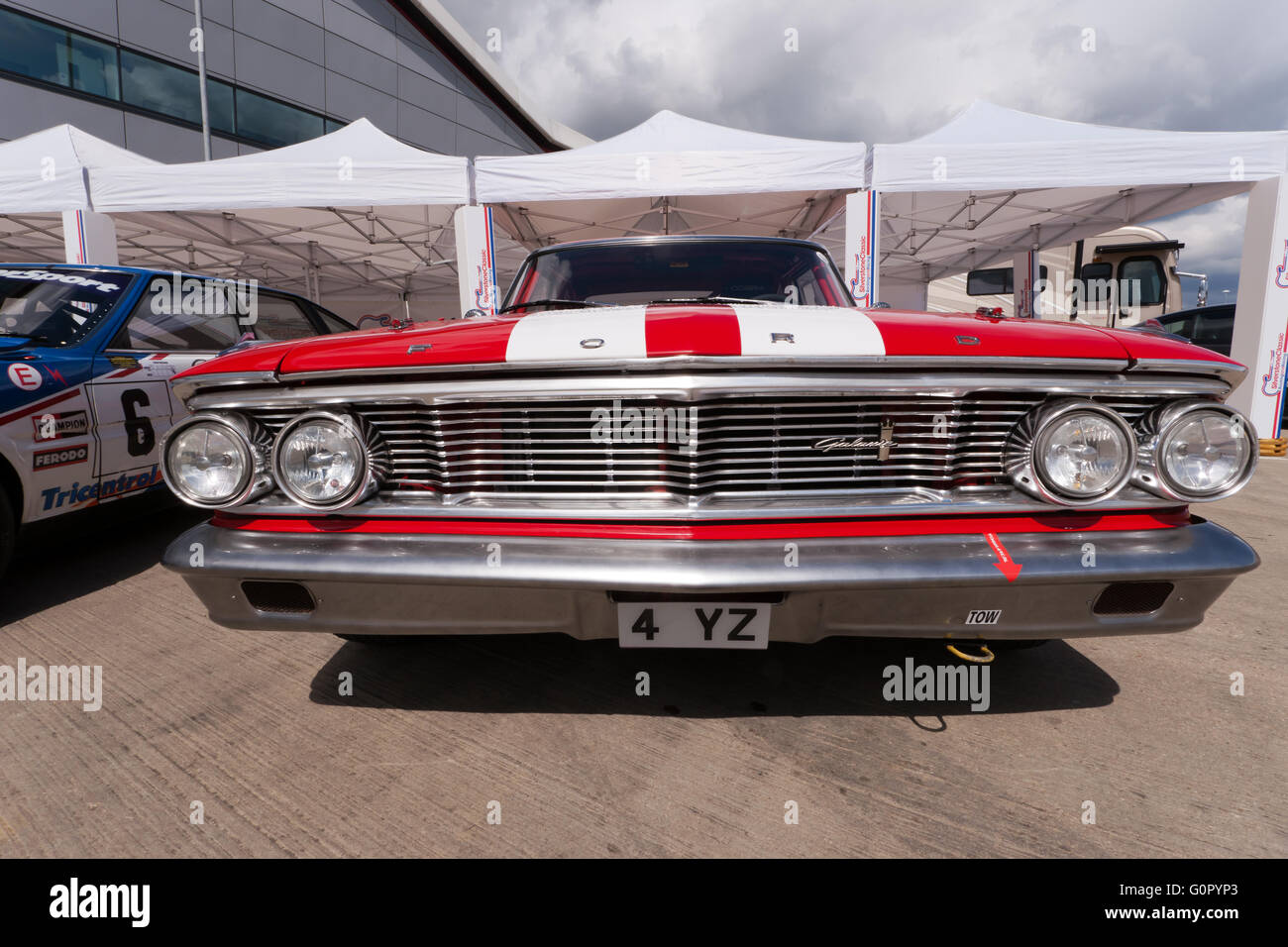 Wide-angle front end view of a vintage Ford Galaxy 500 American ...