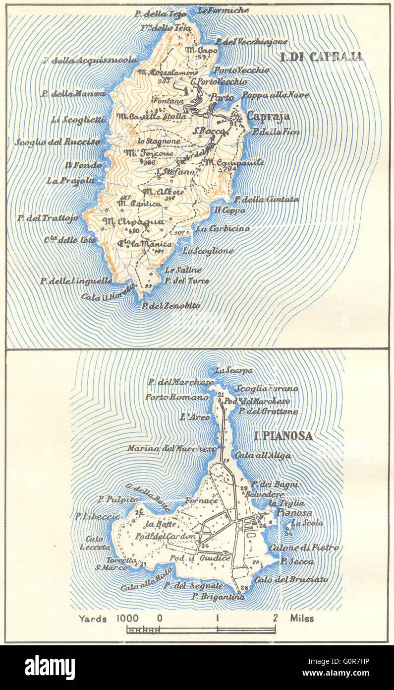 ITALY Capraia Pianosa 1945 vintage map Stock Photo 103773090