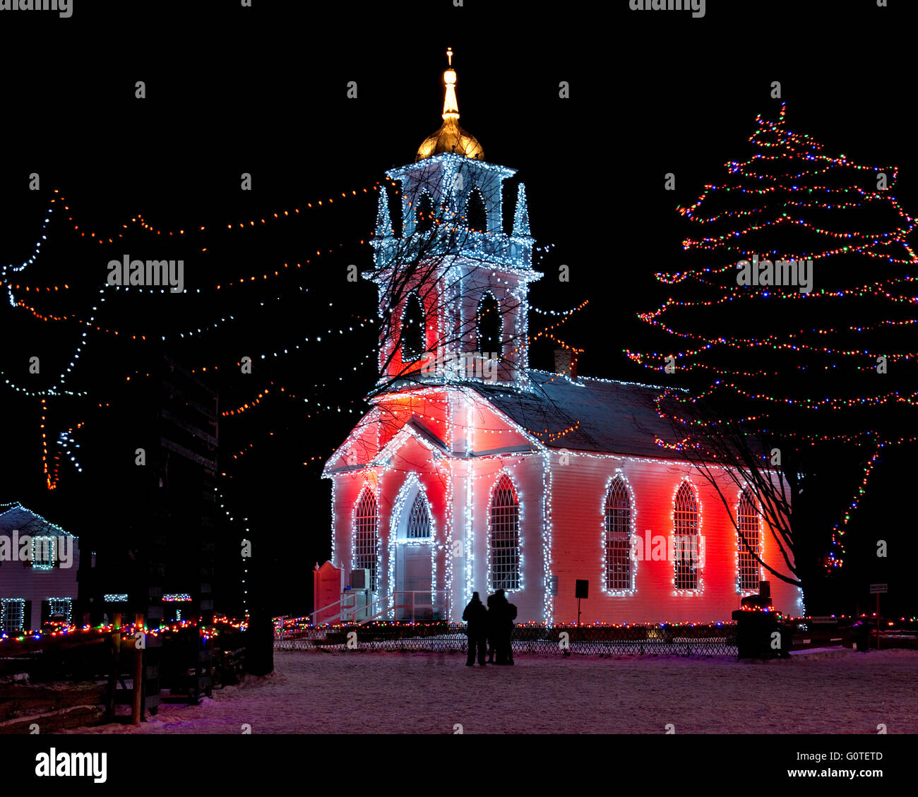 Night lights upper canada village - Country Church At Night And Lit Up For Christmas