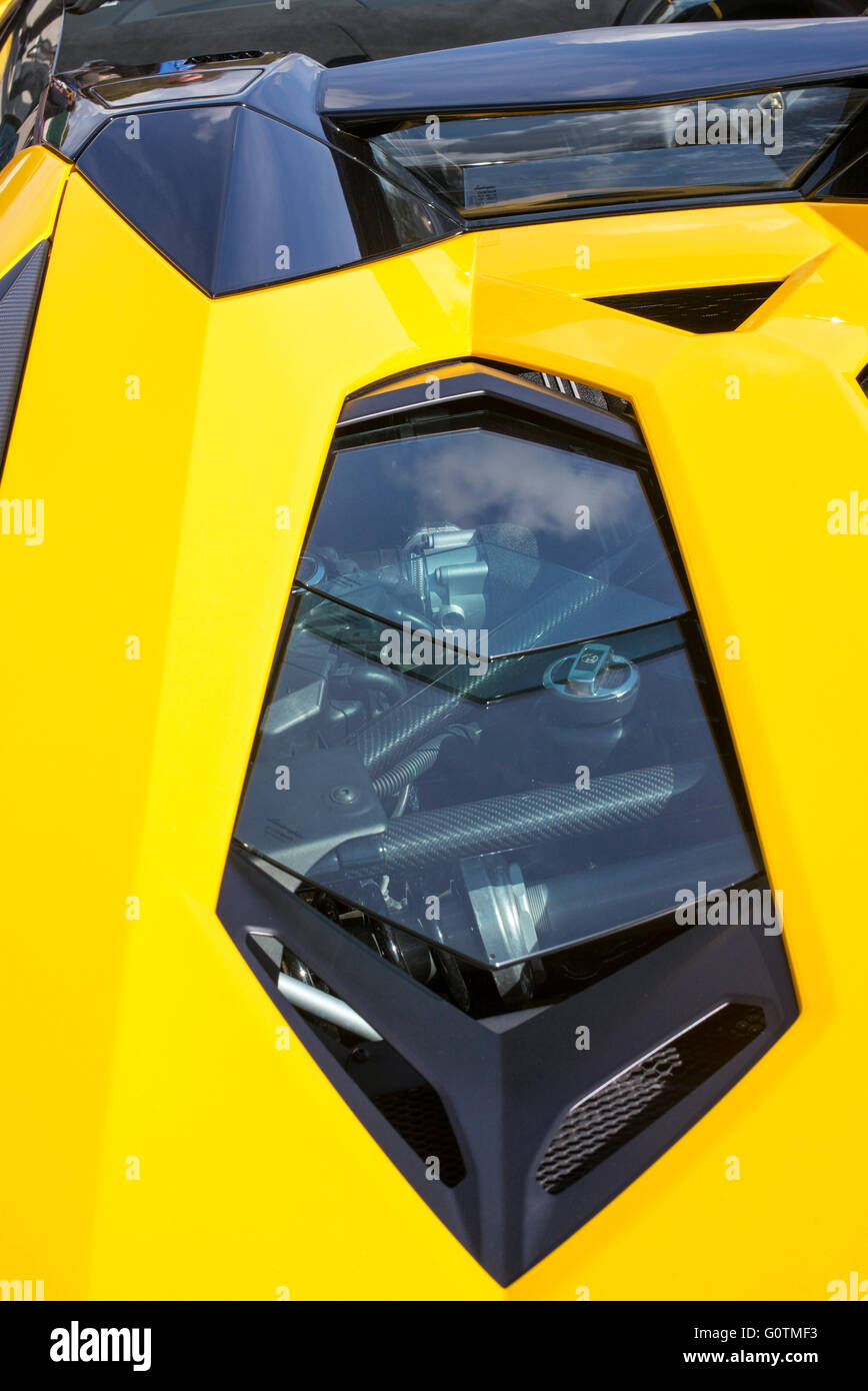 Wonderful Lamborghini Aventador Roadster Engine Abstract. Italian Super Car Great Pictures