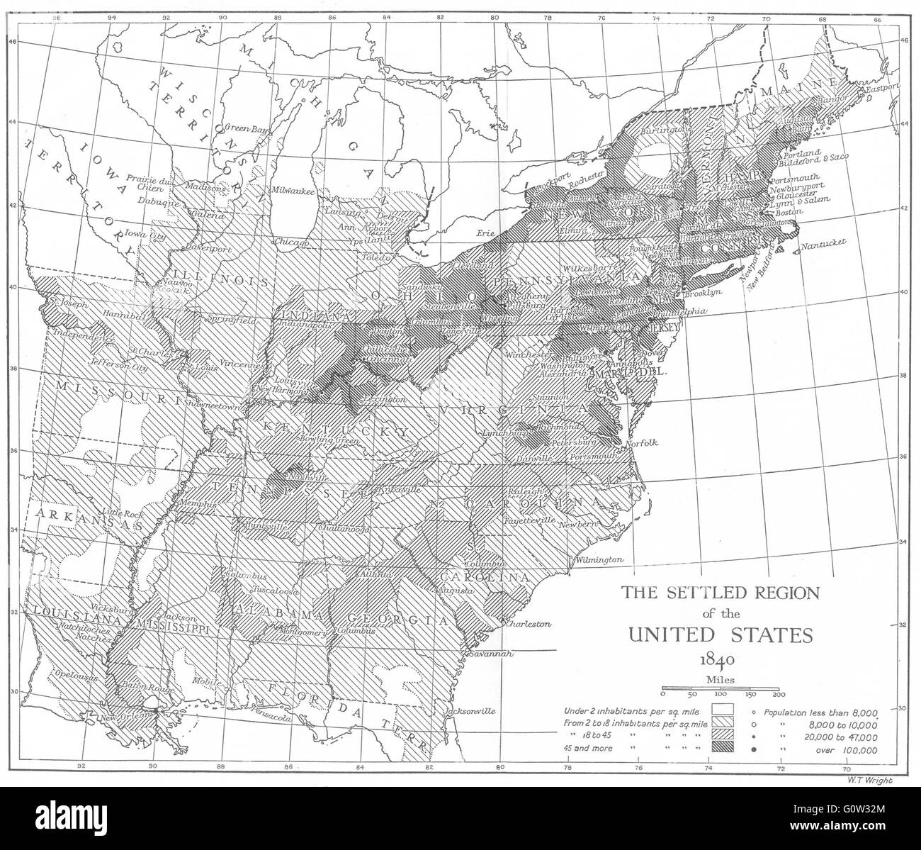USA Northern States Settled Region Of US - Map of the us in 1840