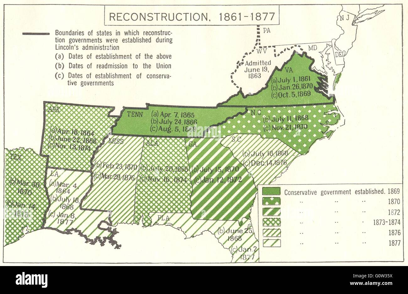USA Reconstruction Political  Constitutional  South - Map of the usa political