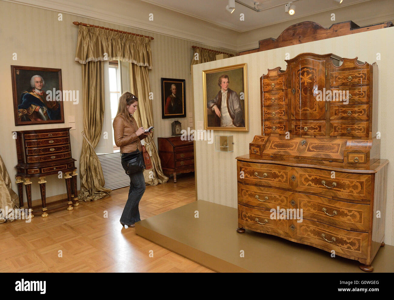 Antique furniture is exhibited in the Vukovar City Museum in Vukovar,  Eastern Croatia, April 19, 2016. The European Museum Forum (EMF - Vukovar, Eastern Croatia. 19th Apr, 2016. Antique Furniture Is Stock