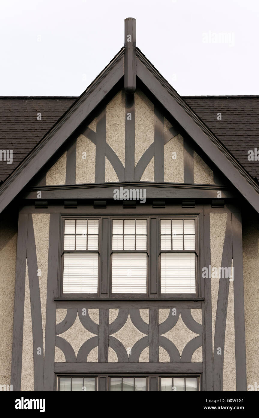 Detail of the facade of a tudor style apartment building in Vancouver, BC,  Canada