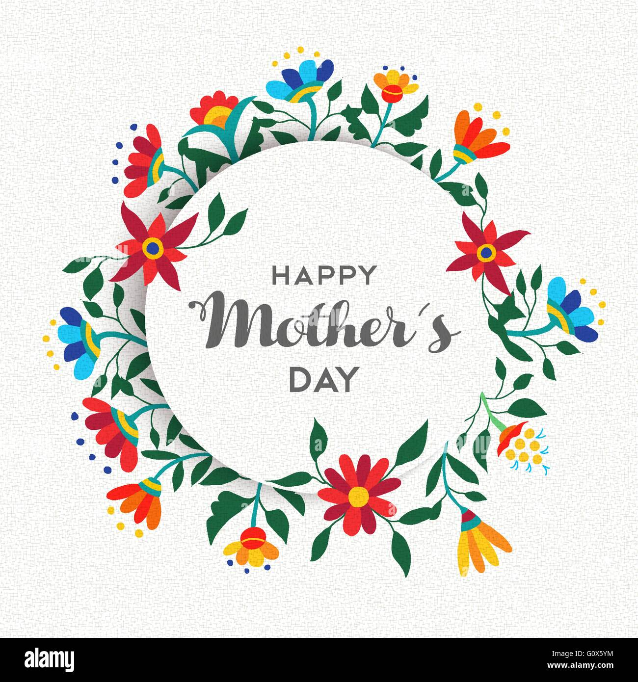 happy mothers day quote text background design with spring stock