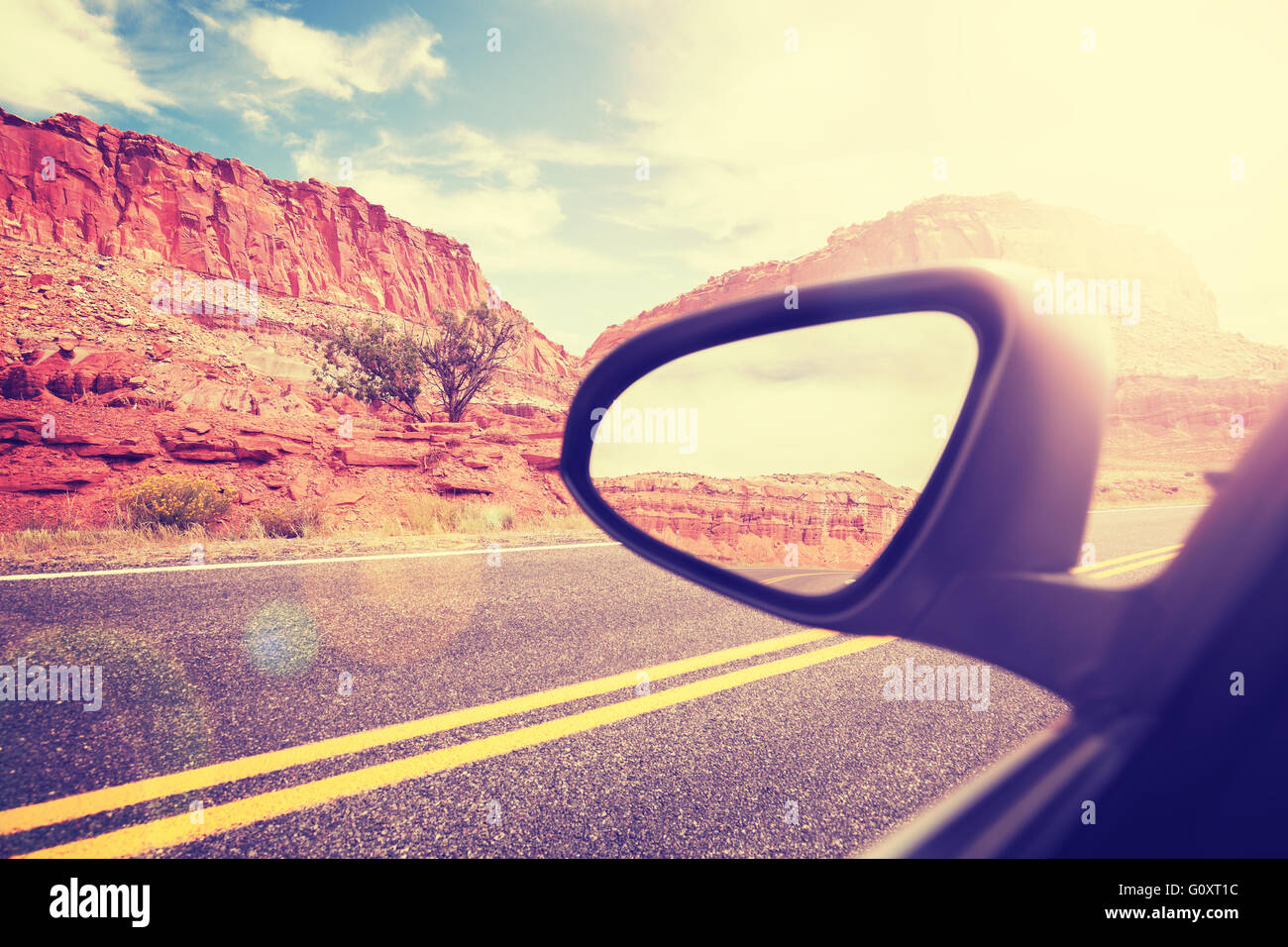 Stock Photo - Vintage stylized car wing mirror with lens flare effect ...