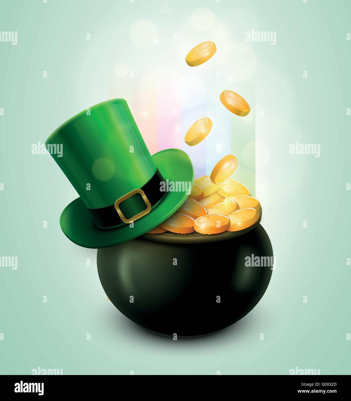 vector st patrick u0027s day symbol pot of gold and green hat