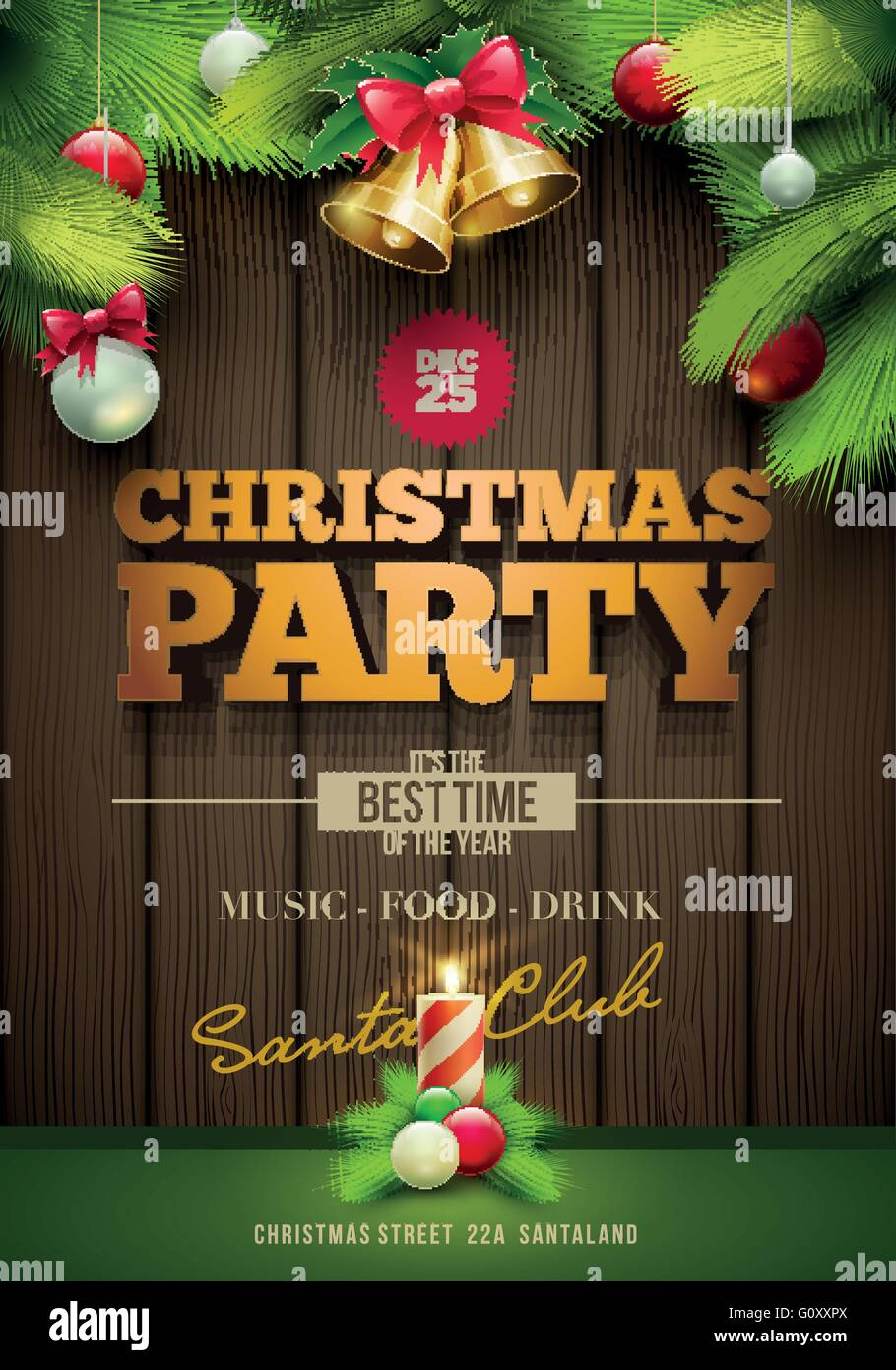 Poster design keywords - Stock Vector Vector Christmas Party Poster Design Template Messages And Objects On Dark Wooden Background Elements Are Layered Separately In