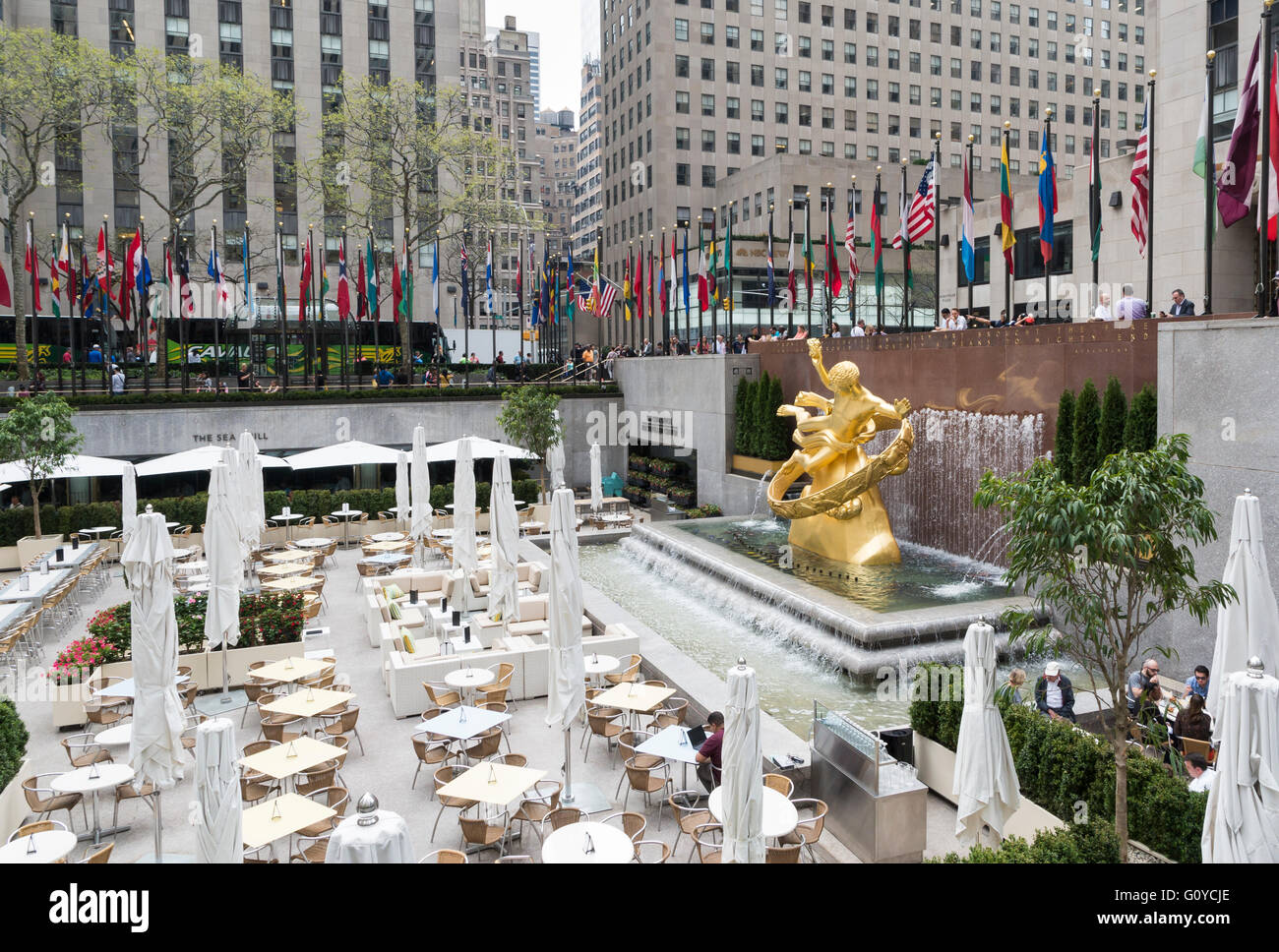 View Of The Lower Plaza At Rockefeller Set Up For Dining