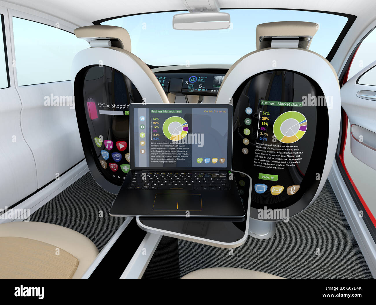 autonomous car interior concept laptop sync to seat screen concept stock photo royalty free. Black Bedroom Furniture Sets. Home Design Ideas