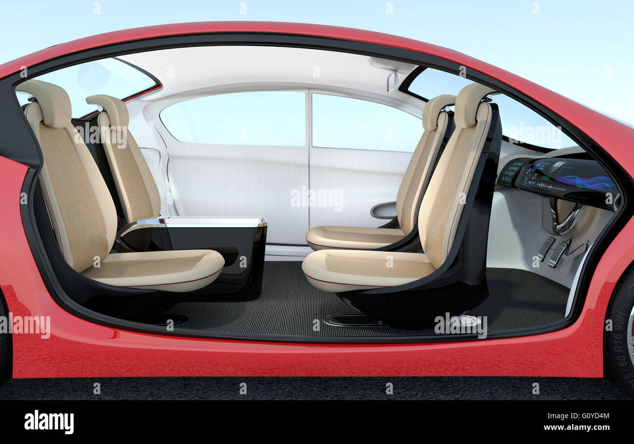 self driving car interior concept driver seats could turned to rear stock photo royalty free. Black Bedroom Furniture Sets. Home Design Ideas