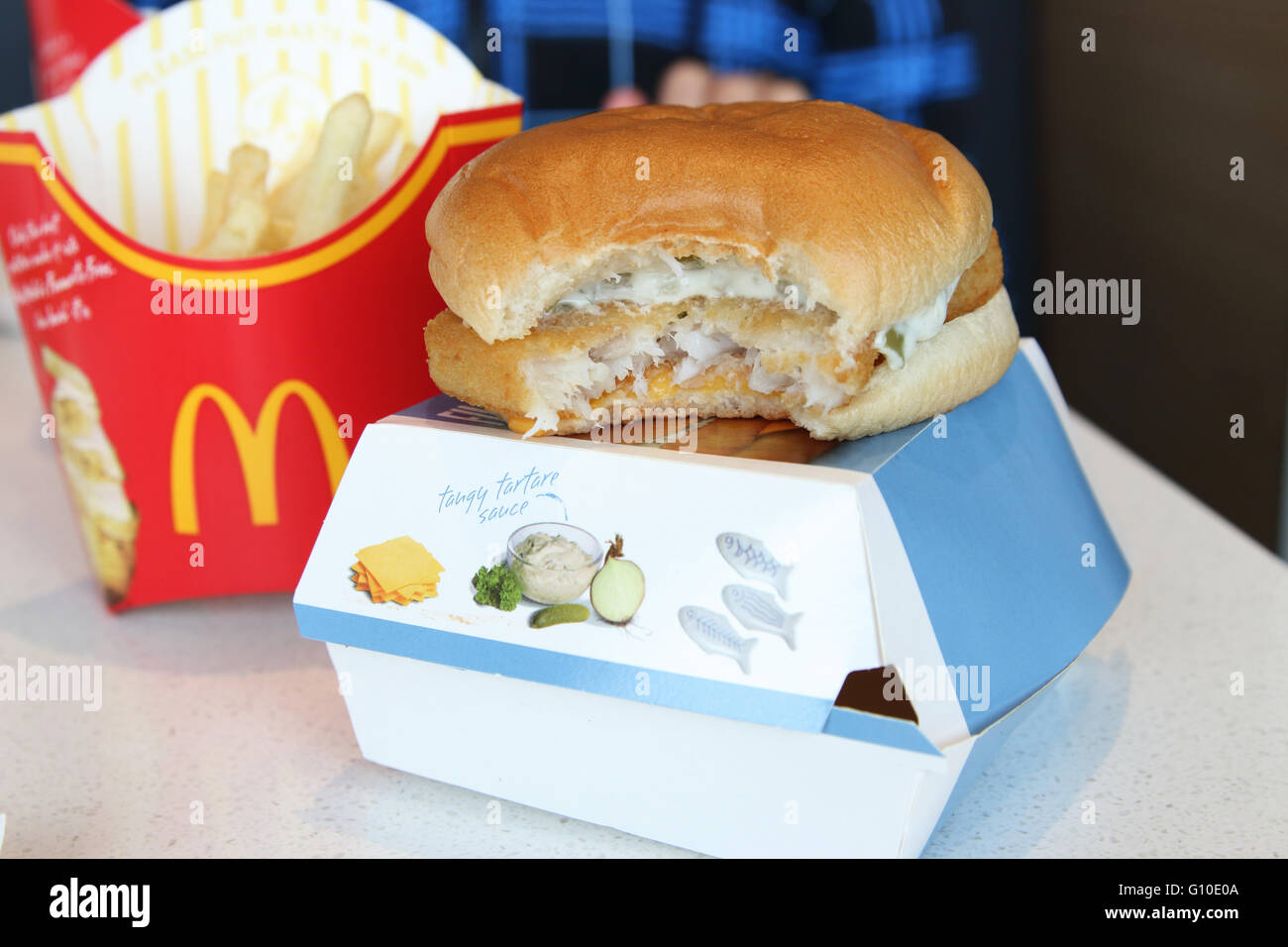 Mcdonald 39 s fries and filet o fish burger with a bite for Filet o fish