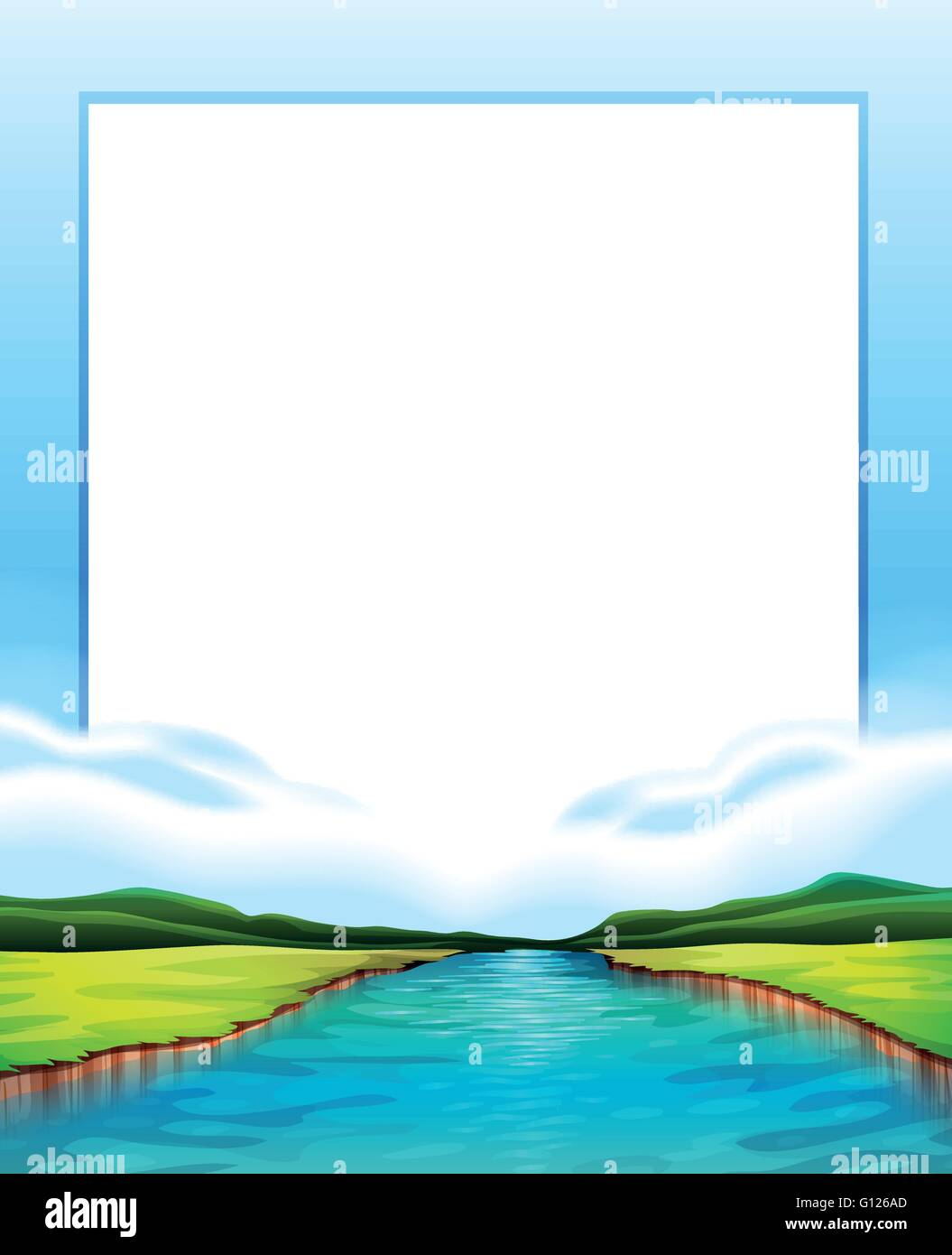 Border Design With River Scene Illustration Stock Photo