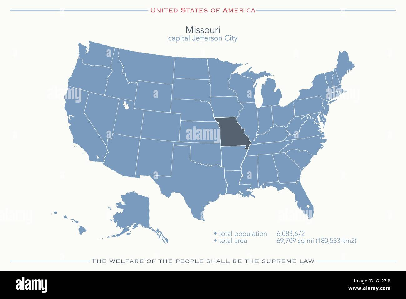 United States Of America Isolated Map And Missouri State Territory - Map of usa missouri