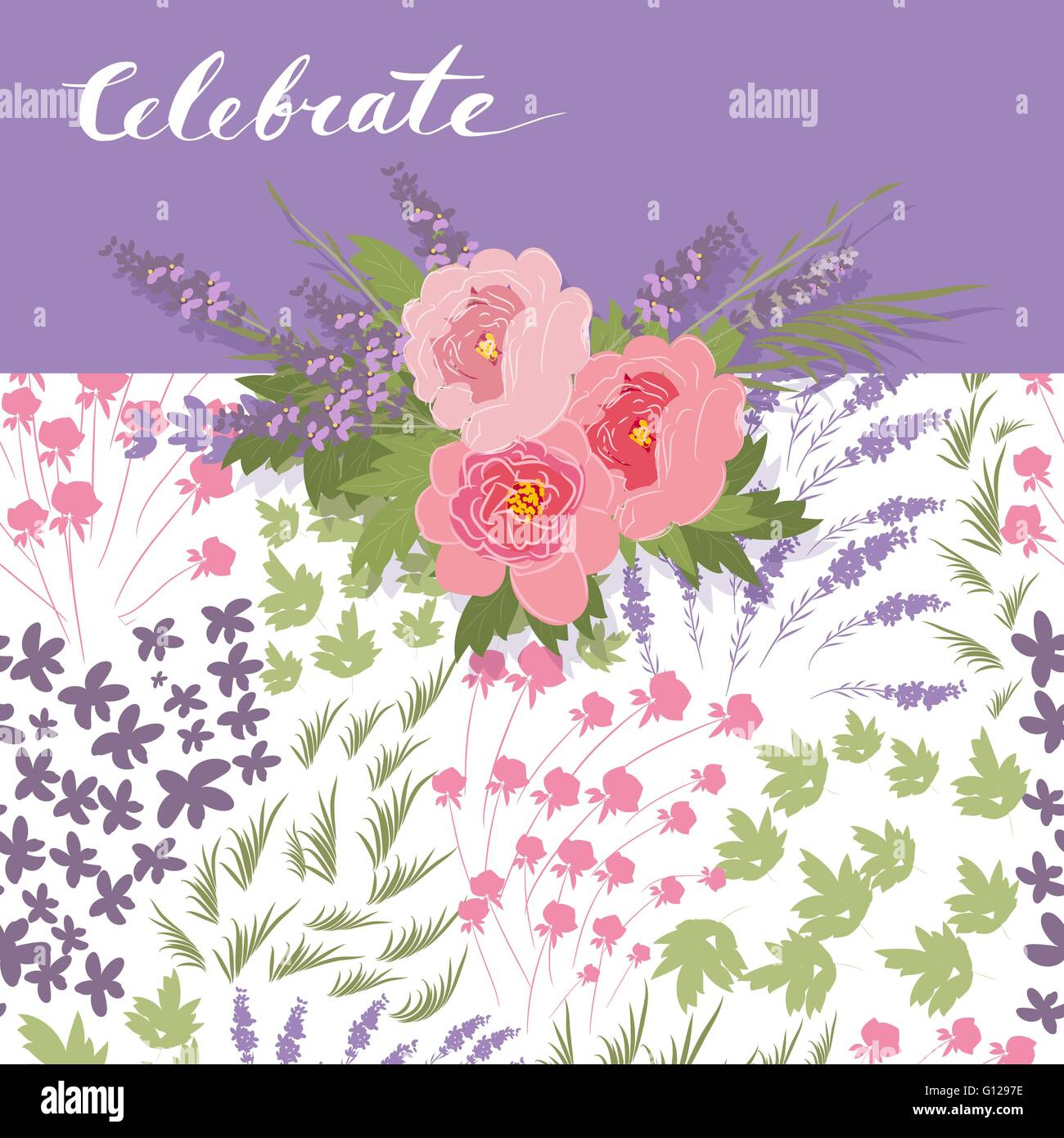 floral peony and lavender retro vintage background vector