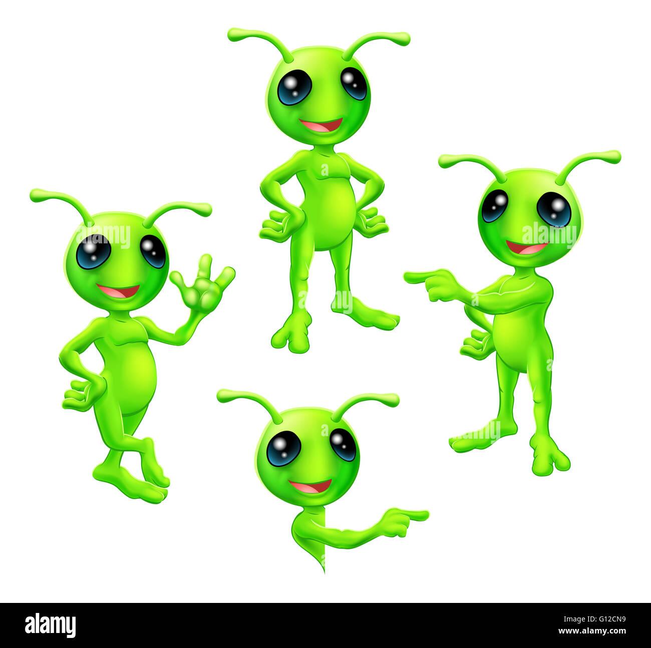 a cute cartoon green alien martian character with antennae in