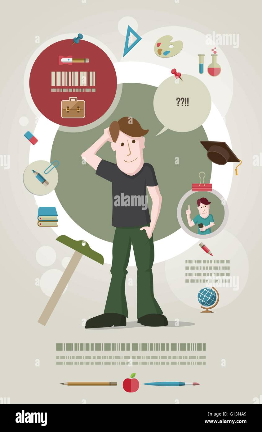 Poster design education - Stock Vector Young Male Student Standing And Confused About Education Education Concept Vector Illustration And Poster Design Template