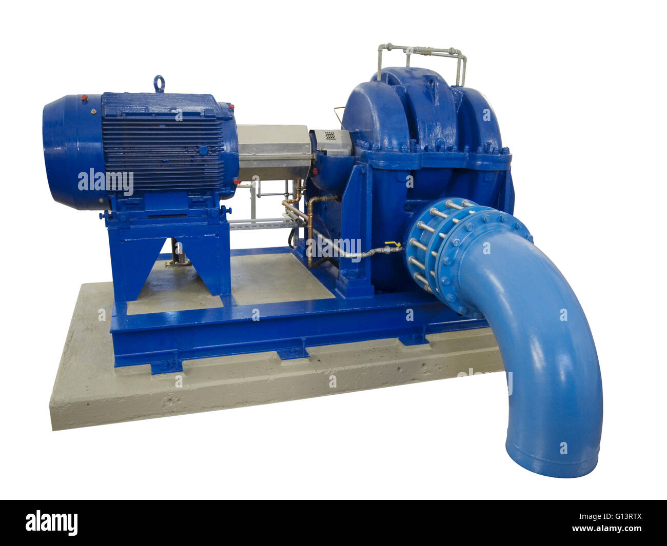 blue industrial pump with electric motor on concrete base