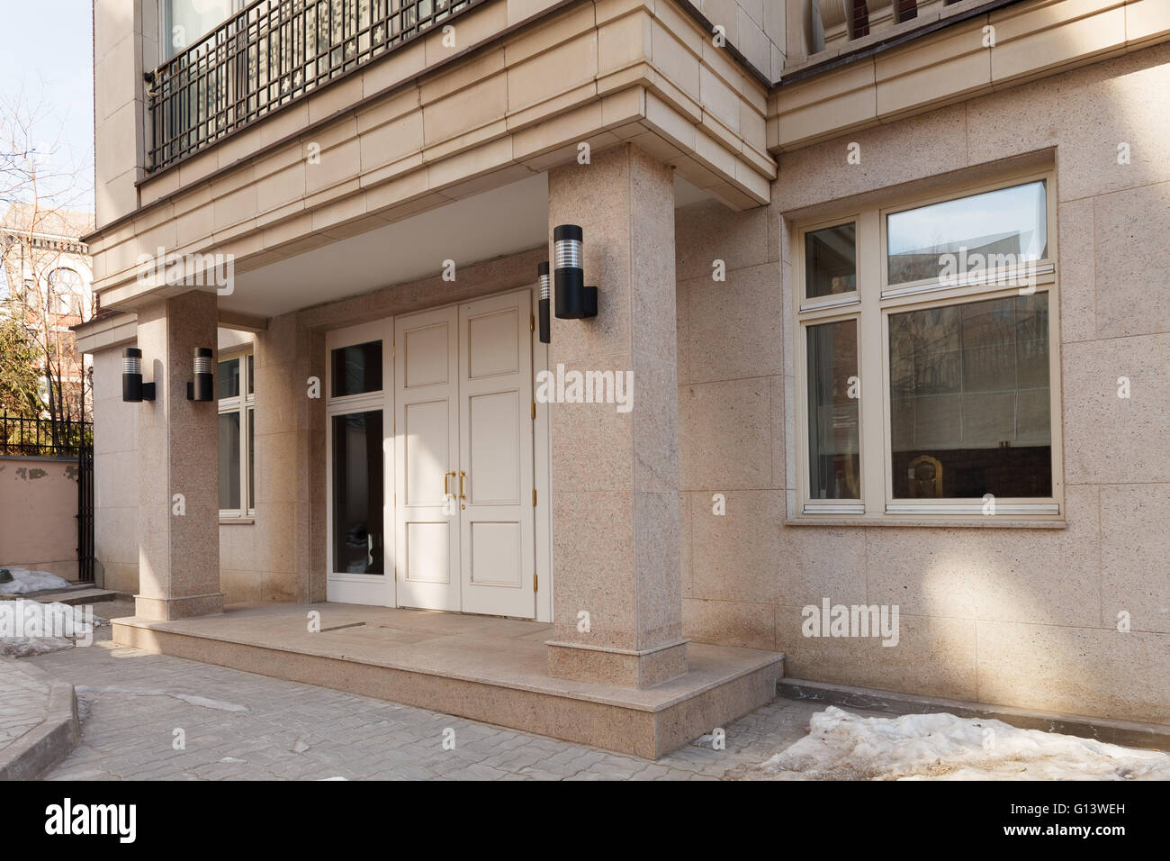 group contemporary office. Office Facade, Entrance Doors Group Of A New Contemporary Building With Square Columns. Side View S